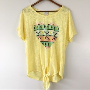 Daytrip Yellow Burnout Aztec Graphic Heart Tee L